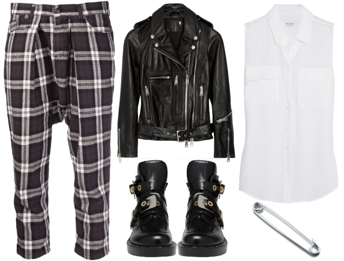 R13 Drop Crotch Plaid Pants Styling 1
